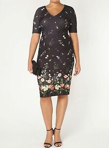 NEW - EX EVANS BLACK FLORAL BORDER PRINT SHIFT DRESS - SIZES 18 20 ... 411dd4bcb