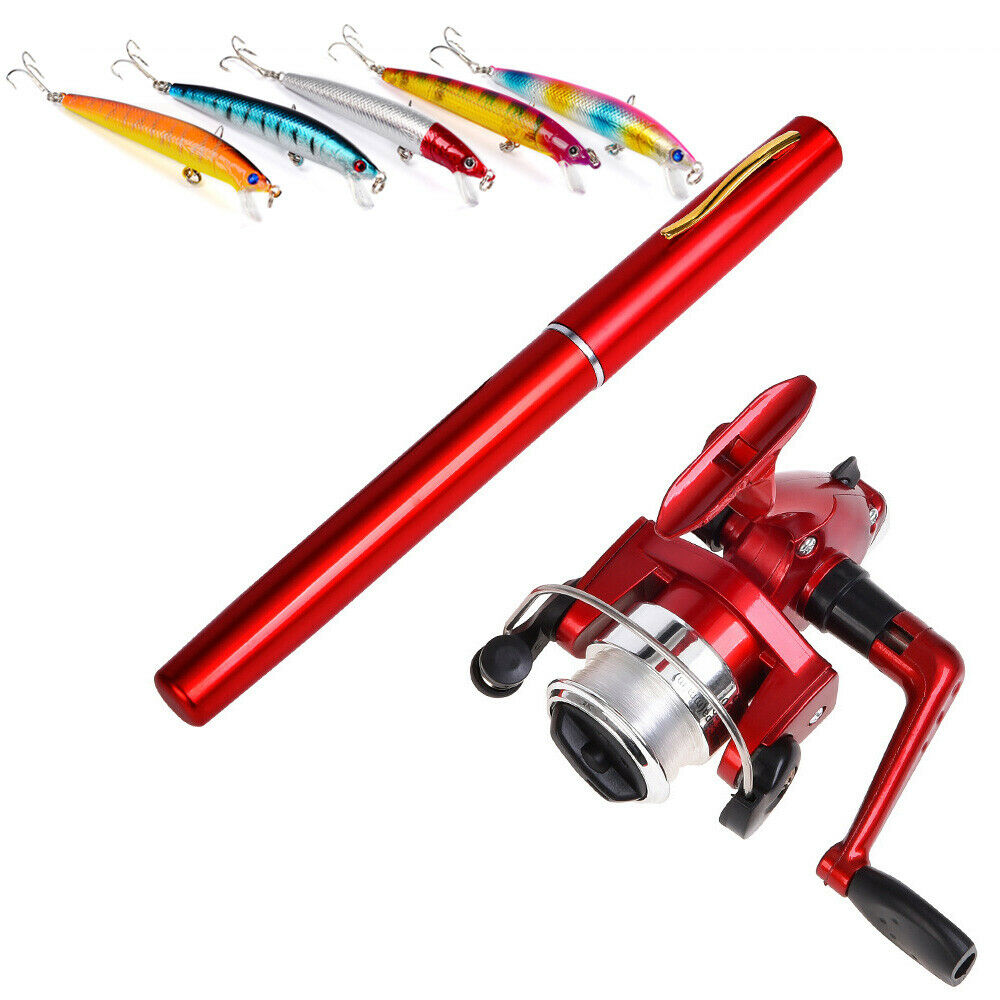Telescopic Pocket Pen Fishing Rod Reel Combo Kit Mini Pole Reel Set Red Z0A7