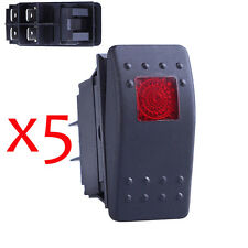 Pactrade Marine 20 Red LED Light 12V 30A ON-OFF Rocker Switch For Auto Boat RV