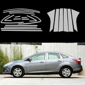 Full-Windows-Molding-Trim-Decoration-Strips-w-Center-Pillar-For-Ford-Focus-3