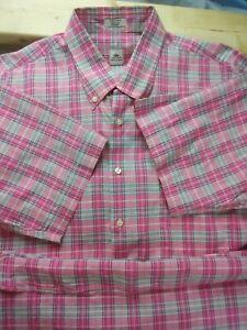 Peter-Millar-Mens-Pink-plaid-print-short-sleeve-button-down-shirt-size-XL