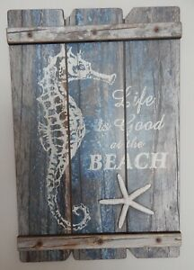RUSTIC-WOOD-STYLE-SEAHORSE-SIGN-PLAQUE-LIFE-IS-GOOD-AT-THE-BEACH-NAUTICAL