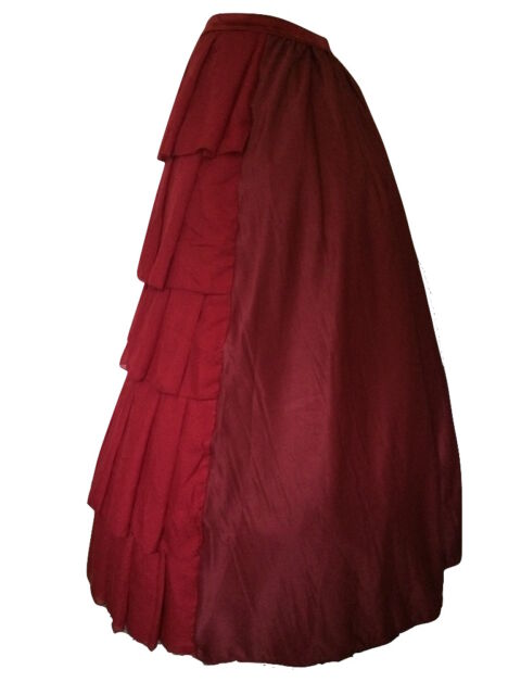 Gothic Victorian Red Steampunk Full Bustle Layer Long Dickensian Skirt