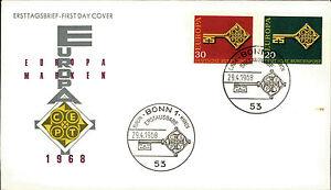 Ersttagsbrief-1968-FDC-Ersttag-Sonderstempel-Bonn-Europa-Marken-20-30-Pfennig