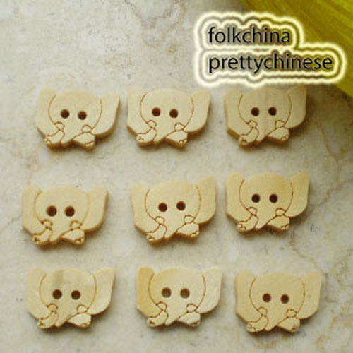 Elephant 16mm Wood Buttons Sewing Scrapbooking Craft NCB040