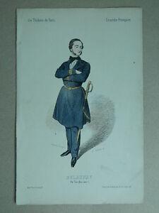 XIX Gravur Farbig Die Theater De Paris Lorsay Collette Porträt Delaunay