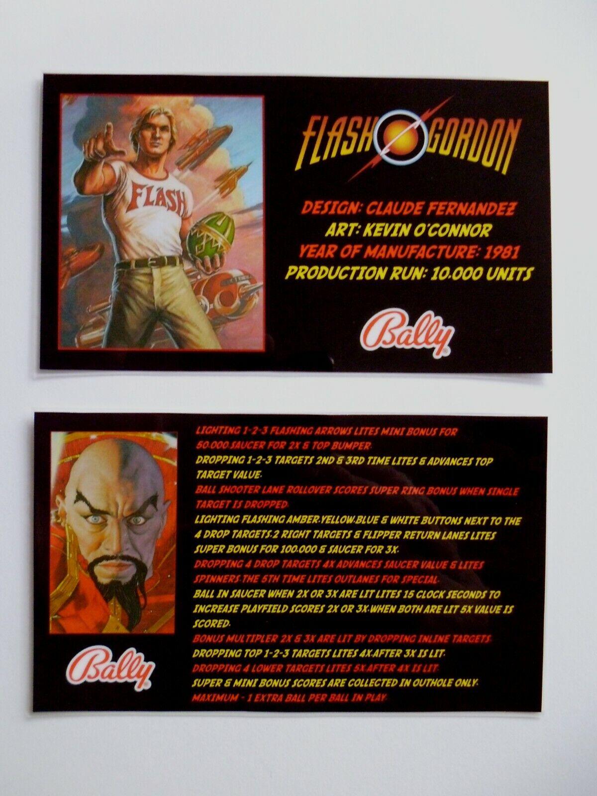 * * 'FLASH GORDON' Bally 1981 Custom Instruction/Apron Cards * * (New)