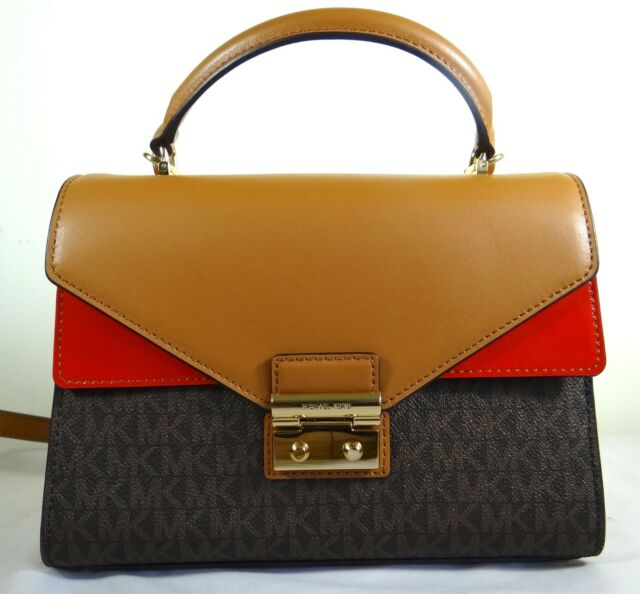 48ce948ded1c4f Brown Red Michael Kors Medium Sloan Flap Top Handle Crossbody Satchel Purse
