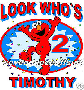 Image Is Loading CUSTOM PERSONALIZED ELMO SESAME STREET BIRTHDAY SHIRT PARTY