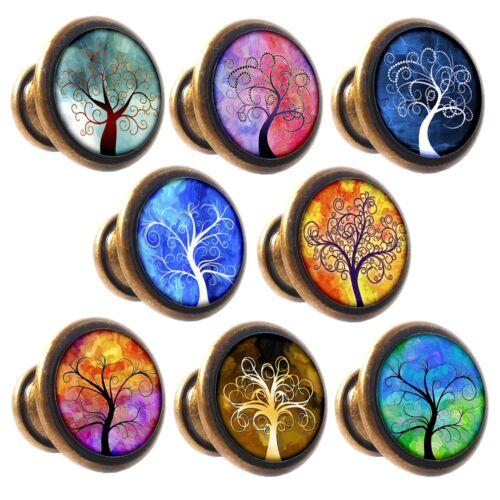 Zinc Alloy Knobs Trees of Life 30mm Cupboard Drawer Door Handles Decorated