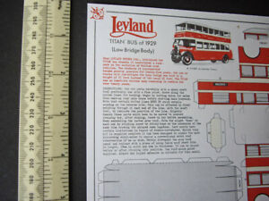 Vintage 00/H0 Scale Leyland Titan Bus 1929 Cut-Out Card Model. Bernard King 1973