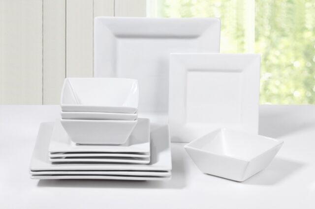 12 Pcs Dinner Set Tableware Square Porcelain White Plates Dishwasher