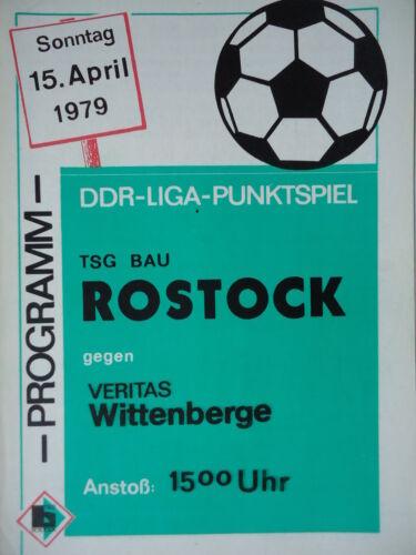 Programm 1978//79 TSG Bau Rostock Veritas Wittenberge
