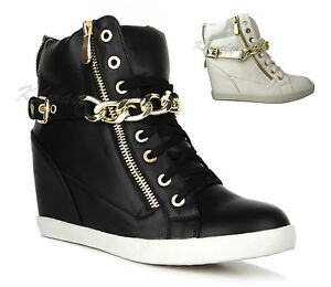 Ladies-Womens-Chain-Buckle-Hi-High-Top-Hidden-Wedge-Platform-Trainers-Shoes-Size