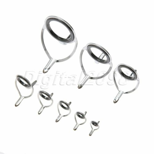 8Pcs Assorted Size SIC Magnetic Fishing Ring Fishing Rod Guide Inside Eye Ring