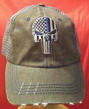 Blue Line Punisher Flag Ball Cap Distressed Low Profile Cotton Mesh Dark Gray