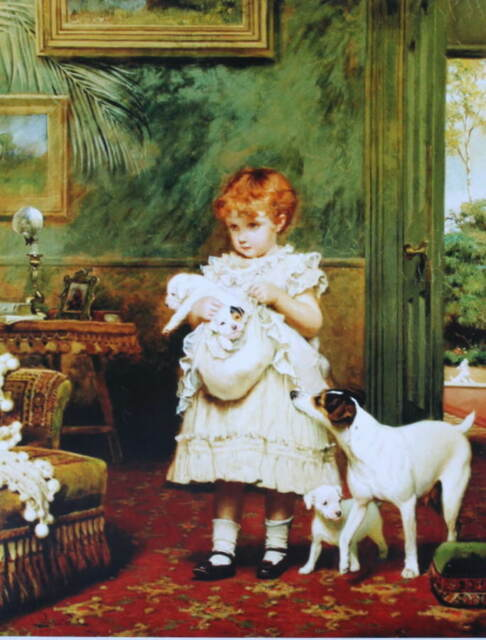 Little Girl with Bundle of Puppies by Charles Burton Barber