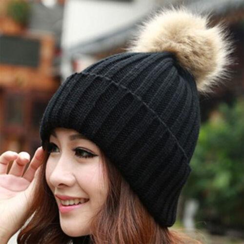 Women Winter Warm Braided Crochet Knitting Hat Solid Beret Ski Beanie Ball Cap