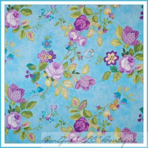 BonEful Fabric FQ Cotton Quilt Aqua Purple Flower Girl Dress Fairy Princess Rose