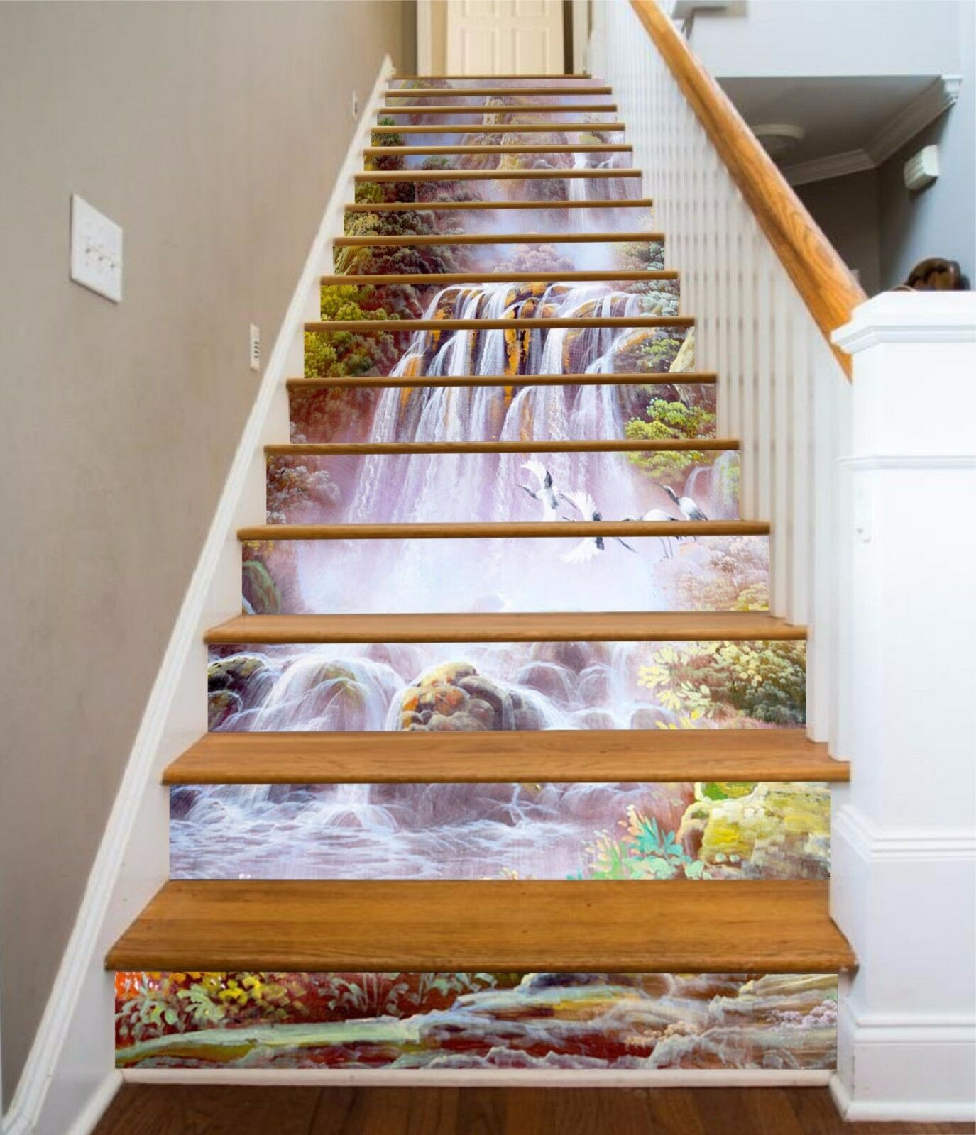 3D Kran Fälle 7368 Stair Risers Dekoration Fototapete Vinyl Aufkleber Tapete DE