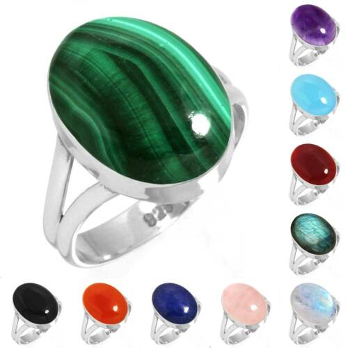 925 Sterling Silver Gemstone Ring Handmade Jewelry Size 5 6 7 8 9 10 11 12 nW992