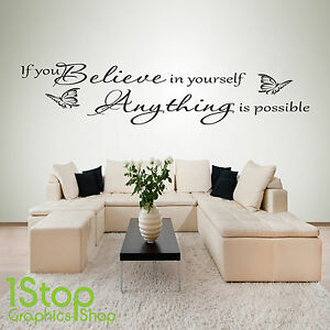 IF YOU BELIEVE IN YOURSELF WALL STICKER QUOTE - BEDROOM WALL ART ...