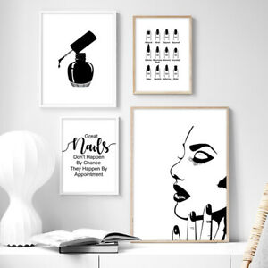 Details about Black White Fashion Girl Poster Print Nail Makeup Canvas Wall  Art Picture
