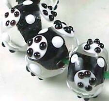 Lampwork Handmade Black White Dot Circle Rondelle Beads