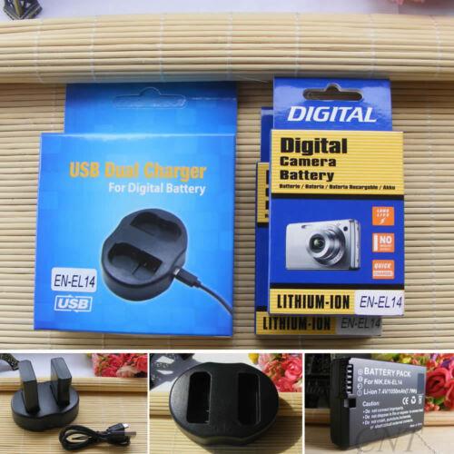 Batería de la cámara o Cargador Doble Para Nikon EN-EL14a D5300 P7000 P7800 EN-EL14