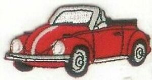 """2.5"""" Red Convertible Beetle Vehicle Car Facing Left Embroidery Patch"""
