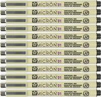 Sakura Pigma Micron Pen - 01 (0.25mm) Waterproof Archival Black - 12pc