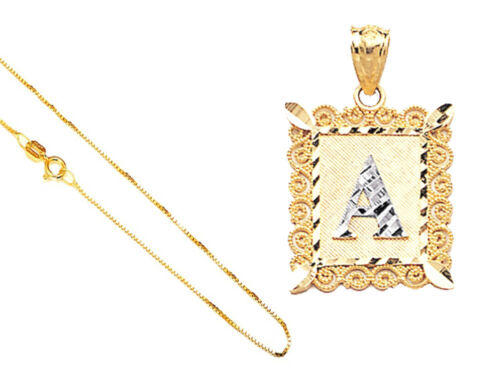 "14k Solid Gold A-to-Z Alphabet Letter in Rectangle D//C Pendant 18/""Gold Box Chain"