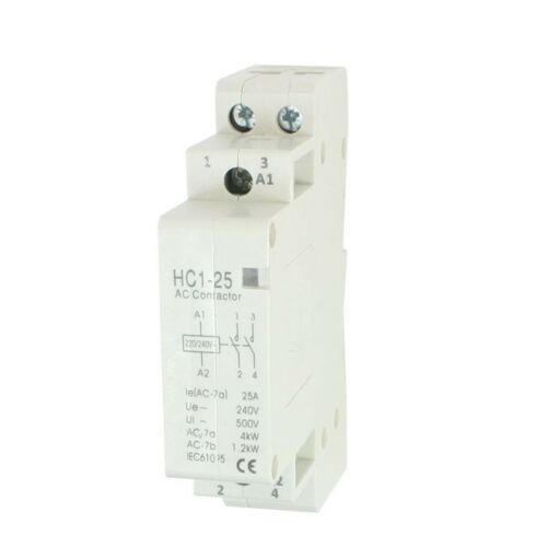 AC 240V 25A 2 Reed AC Contactor 2P Closed Domestic 35 mm DIN Rail PF Y6C3 S8X5