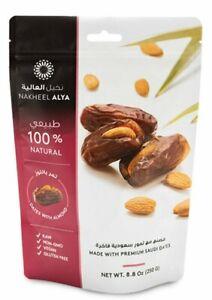 Premium Khudri dates remplie d'amandes fraîches 100% Coton Qualité 300 g free p&p