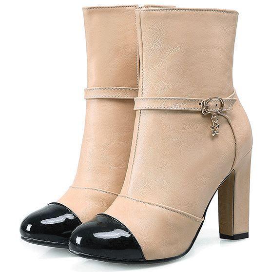 Bottes Chaussures Talon 9 cm Beige Noir Cuir Synthetique Confortable 9408