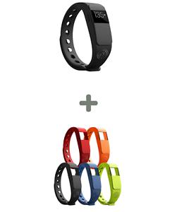 NINETEC-Smartfit-F2HR-Fitnesstracker-schwarz-4x-Ersatz-Armband-o-r-b-g-Uhr