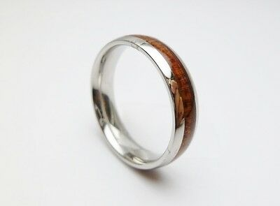New Hawaiian Jewelry Men's Koa Wood Wedding Band 6mm Ring Size 5-14 #37101-4