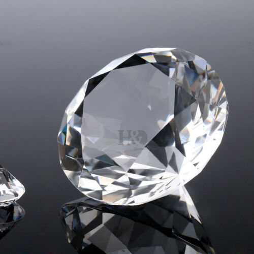 H/&D Personalised 60mm Diamond Shape Crystal Paperweight,Engraved with Gift Box