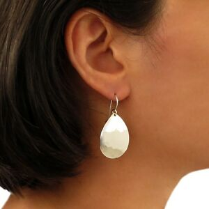 Image Is Loading Hammered Pear Drop 925 Sterling Taxco Silver Earrings