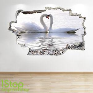 CIGNO-LAGO-Adesivo-da-parete-3D-LOOK-salotto-camera-letto-Love