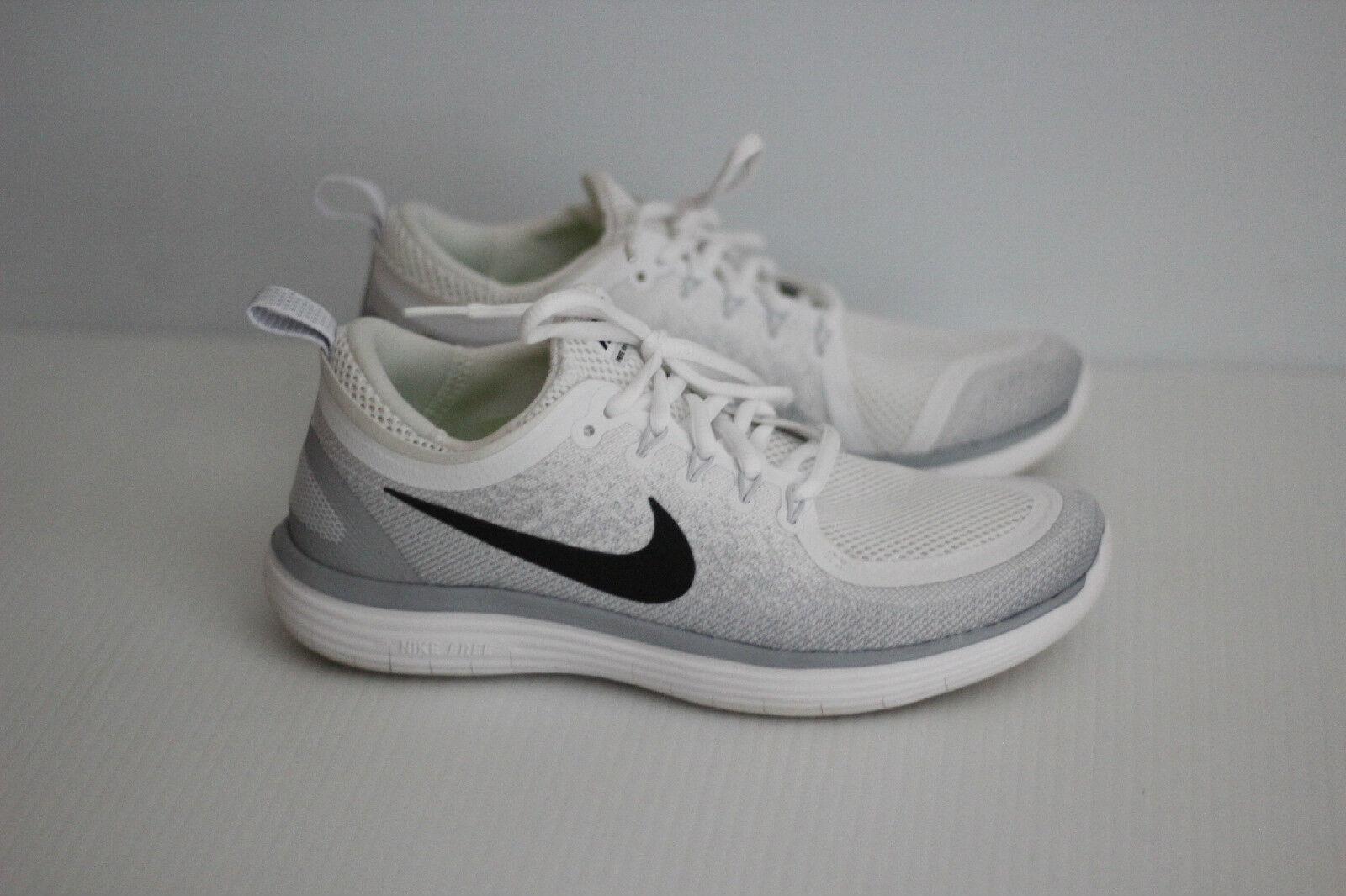 Nike Free RN Distance 2 Running Shoe- White/Black/Pure Platinum/Wolf Grey - 8 US