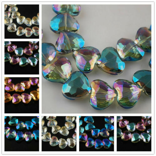 Pretty Faceted Crystal Glass Charms Heart Findings Loose Spacer Beads 20x16mm