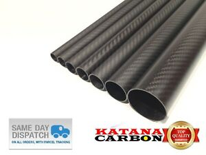 Matt 1 x OD 16mm x ID 14mm x Length 500mm 3k Carbon Fiber Tube (Roll Wrapped)