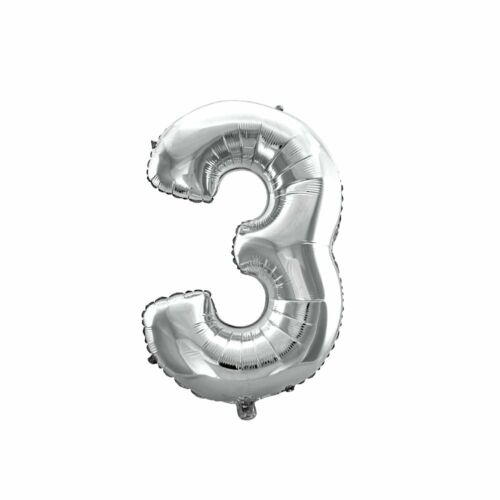 Folien-Ballon Luft-Ballon ZIFFERN ZAHLEN 0-9 SILBER 80CM XXL Aufpusten Party