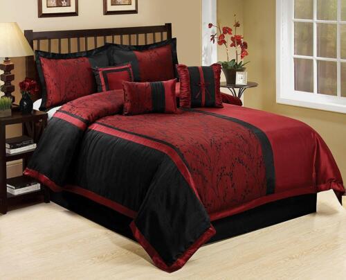 Asia Jacquard Floral Burgundy Black Faux Silk 7 pc Comforter Cal King Queen Set