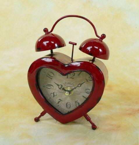 Kleiner Wecker Patina Retro Herz Glocken Standuhr Metall Kaminuhr Uhr MU019-b
