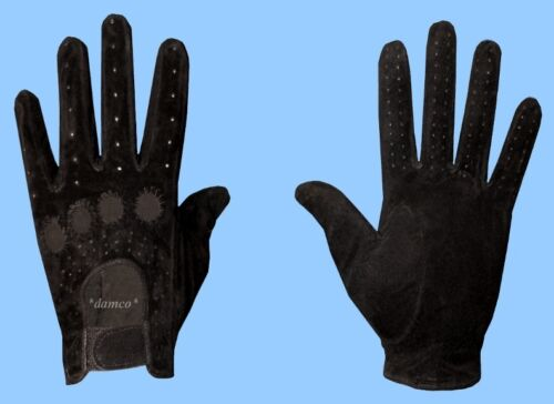NEW MENS size 8.5 GENUINE BLACK SUEDE LEATHER DRIVING GLOVES adjustable wrist