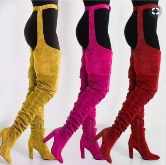 femmes Nightclub Sur Bottes Hautes Daim Zip Sexy ponited Toe Chaussures Tous UK SZ
