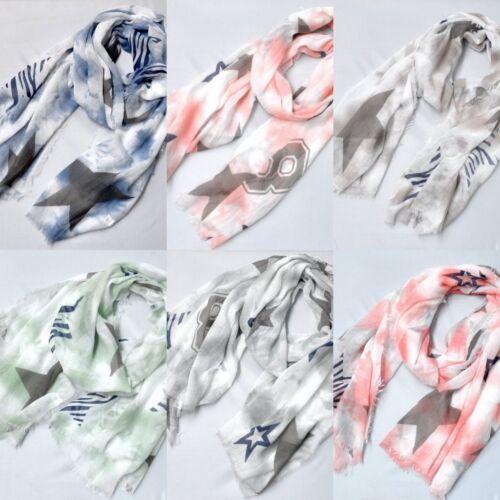 XXL Silk Langschal Langer Schal Halstuch Tuch Damen Damenschal Fransen Sterne