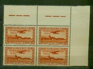 Saar, posta aerea referendum 1935 sistema di quattro N. 196 post freschi ** spat